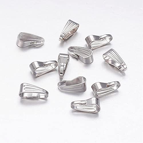 BOUTIQUE des COLORES - Bolsa de 50 anillas para colgantes de hierro, color plateado, 9 x 3,5 x 2 mm, agujero 8 x 3,5 mm