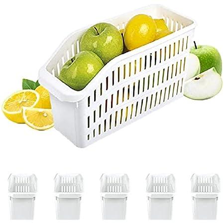 Homelife - Lot de 5 Bacs de Rangement Réfrigérateur FRIMAX - Blanc - pour refrigerateur Tiroir Organisateur Panier legumes Frigo Congélateur Robuste Boite Cuisine Nettoyage (Petit)