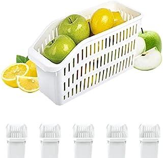 Homelife - Lot de 5 Bacs de Rangement Réfrigérateur FRIMAX - Blanc - pour refrigerateur Tiroir Organisateur Panier legumes...