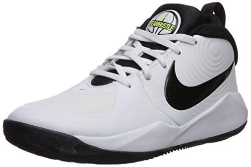 Nike Team Hustle D 9 (GS), Basketball Shoe Unisex-Child, White/Black-Volt, 38.5 EU