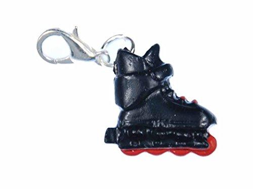 Miniblings Rollerskates Charm Rollschuhe Inlineskates Skates schwz rot - Handmade Modeschmuck I Kettenanhänger versilbert - Bettelanhänger Bettelarmband - Anhänger für Armband