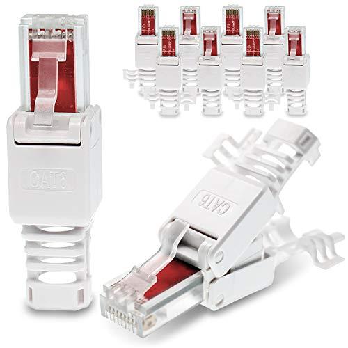 10x Netzwerkstecker werkzeuglos RJ45 CAT6 LAN UTP Kabel Stecker ohne Werkzeug werkzeugfrei CAT5 CAT7 Verlegekabel Patchkabel Netzwerkkabel Toolless Modular Plug Connector Crimpstecker