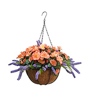 Silk Flower Arrangements Home Wedding Porch Decoration Chain Hanging Basket Flowers Silk Azalea with Artificial Lavender (9.85 inch)