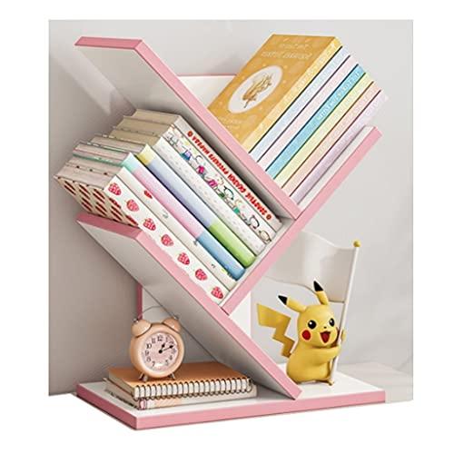 jiji Librería Estantería de 3 Capas, estantes de Almacenamiento de pie, estantes de exhibición, Altas librerías de estantes de Metal por habitación de Sala de Estar Librero (Color : White+Pink)