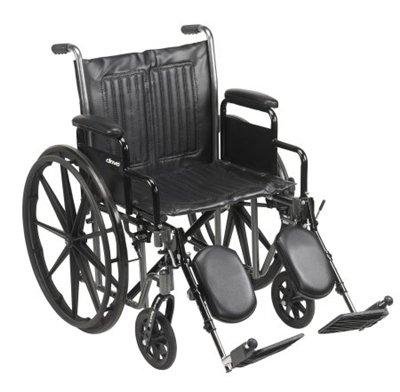 "20"" Wheelchair, Steel Frame, Black, Detachable Desk Arm, Swing Away Elevating Leg Rest, 350 Lb. Capacity"