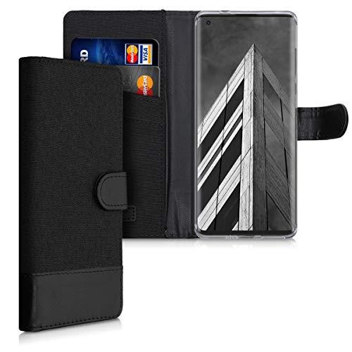 kwmobile Wallet Hülle kompatibel mit Motorola Edge Plus/Edge+ - Hülle mit Ständer - Handyhülle Kartenfächer Anthrazit Schwarz