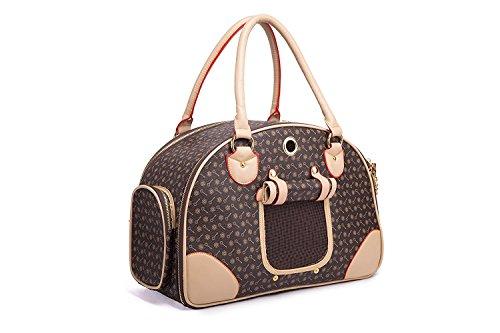BELLAMORE GIFT Groß Transporttasche Hundebox Katzentasche Hundetasche für 2-4KG Hunde und Katzen Chihuahua 42cm*29cm*18cm (Brau)
