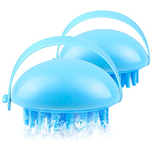 Masajeador de pelo, 2 paquetes de champú manual en seco y mojado, cepillo para eliminar el cabello, exfoliante, suspensible y desprendible con cinta flexible anti-Slip (azul).