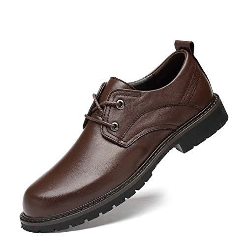 DADIJIER Oxfords Vestido de Vestir Zapatos para Hombres con Punta Redonda Redondo 2-Ojo Encaje Encima de Costura Pull Grifo Grueso Bloque tacón de Cuero Genuino de Cuero sintético