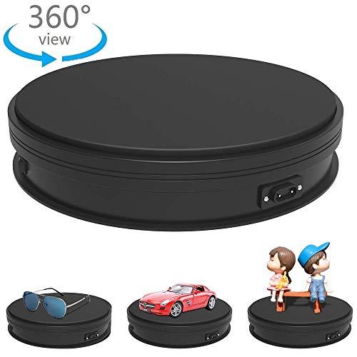 Yuanj Piattaforma Professionale Girevole di 360 Gradi, Diametro di 25cm Piatto Girevole Rotante Elettrico Base per Fare Foto, Video e Mostra Prodotto - Nero