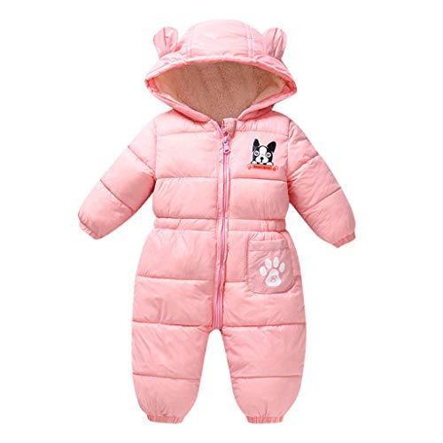 Livoral Einteiliger einteiliger Jumpsuit-Overall Warmer mit Kapuze Overall des neugeborenen Babykarikaturwinters starker Overall(Rosa,12-24 Monate)