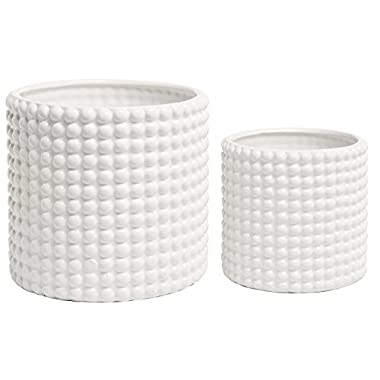 Set of 2 White Ceramic Vintage-Style Hobnail Textured Flower Planter Pots / Storage Jars
