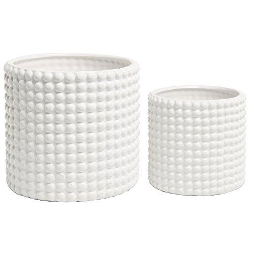 Blumen-Übertopf, Keramik, strukturiertes Vintage-Design, Weiß, 2 Stück