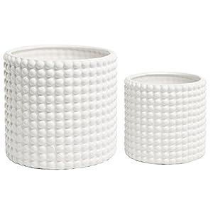 Set of 2 White Ceramic Vintage-Style Hobnail Textured Flower Planter Pots/Storage Jars