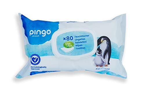 Pingo Toallitas para Bebé - 12 Paquetes de 80 Unidades - Toallitas Húmedas sin Perfume - con aloe vera y camomila - Toallitas ecológicas para todo tipo de piel - sin parabenos - Color Blanco
