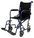 "Karman Healthcare LT-2017-BL Folding Aluminum Transport Chair, Blue, 17"" Seat Width"