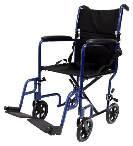 Karman Healthcare LT-2017-BL Folding Aluminum Transport Chair, Blue, 17