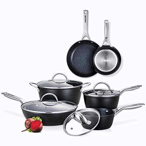 Nonstick Pots and Pans Set, Cookware Set Induction 10 Pieces, Chemical-Free Kitchen Cooking Sets, Saucepan, Frying Pan, Skillet, Saute Pan, Stock Pot, Oven & Dishwasher Safe, Black