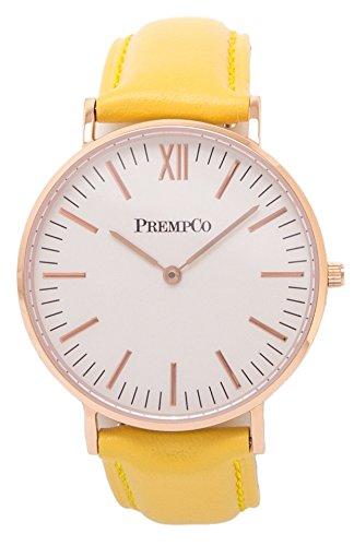 PrempCo - Nobel - Damen Armbanduhr - Elfenbeinweiß - Rosegold - Schnell-wechsel Uhren-Armband in Gelb