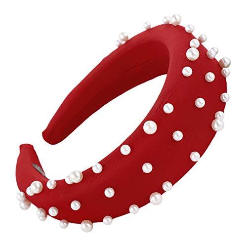EJY Simple Large Bandeaux Turban Vintage Hairband avec Imitation Perle Cheveux Cerceaux Cheveux Accessoires pour Femmes,Rouge