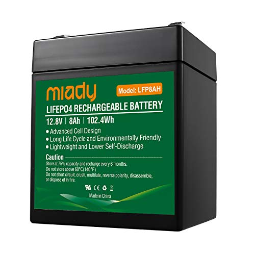12V 8Ah Deep Cycle LiFePO4 Battery, 2000 Cycles Miady LFP8AH Rechargeable Battery, Maintenance-Free Battery for Fios, Power Wheels, Solar System, UPS and More