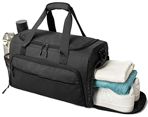 Gym Bag for Men Women, Small Fitness Workout Sports Duffle Bag with Wet Pocket & Shoes Compartment, Water Resistant Overnight Weekender Duffel Bag in Black
