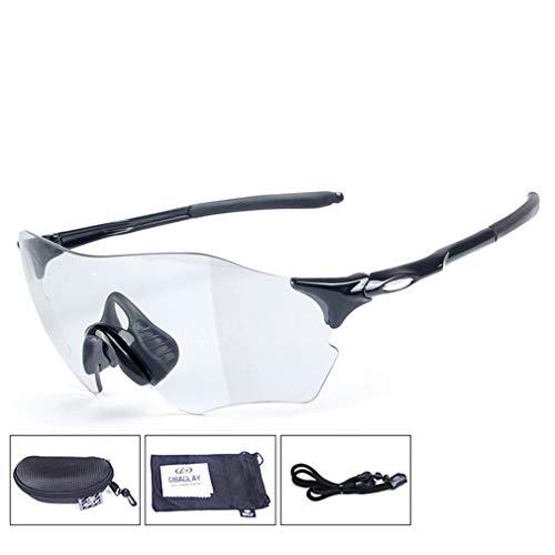 YIWEN Herren Fahrradbrille, Photochrom Sport Sonnenbrille Polarisiert Fahren Brille Zum Lauf Angeln Motorrad Reise Berg Klettern Outdoor-Aktivitäten Brille,Schwarz