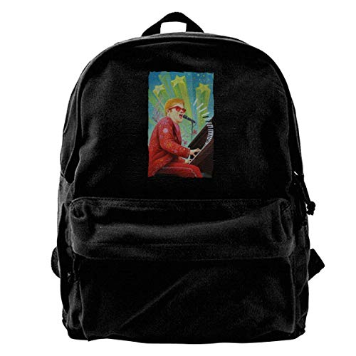 Yuanmeiju Mochila de Lona para computadora portátil Mochila Escolar Impermeable para Hombres y Mujeres Elton-John Mochila Ligera antirrobo para Viajes al Aire Libre Mochila para Estudiantes
