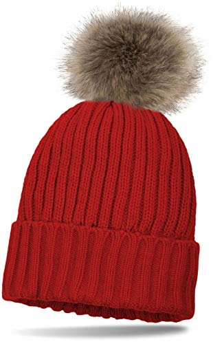styleBREAKER gefütterte Bommelmütze mit Perlrippen Muster, Strickmütze mit Fellbommel, Winter Mütze, Damen 04024031, Farbe:Rot