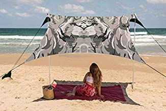 Family Beach Tent Canopy Sunshade with Sandbag Anchors - Simple & Versatile. SPF50, Lycra Sun shelter for The Beach,Camping and Outdoors (Shell-Grey, Small)