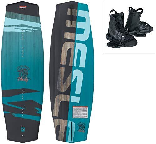 MESLE Wakeboard-Package Liberty 128 cm con Fijaciones Moto Junior, Tabla para niños/jóvenes para Principiantes a intermedios, Peso Corporal de 20 a 50 kg, Azul Negro