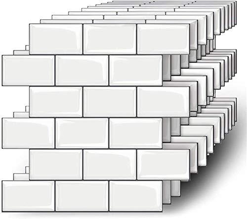 MORCART 10 Stück Fliesenaufkleber Selbstklebende Fliesendekor Aufkleber Backstein 3D Mosaik Wallpaper Küchenschränke Badezimmer Kamin Bodentreppe Abnehmbar Wasserdicht für Küche und Bad MT1010