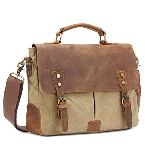 Youngate Borsa messenger vintage in tela PU pelle Business valigetta per computer portatile (Khaki)