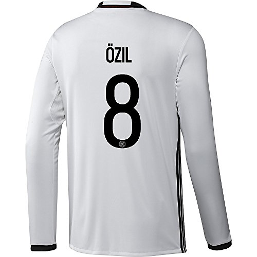 adidas Ozil #8 Germany Home Soccer Jersey Euro 2016 Long Sleeve (M) White