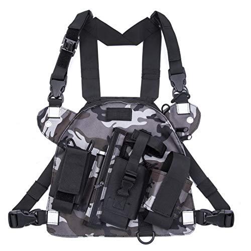 Universal de radio walkie talkie Bolsa de mama, Arnés Bolsas con correa para el hombro ajustable, Nylon multifunción mochila bolsa de Radio - Océano camuflaje