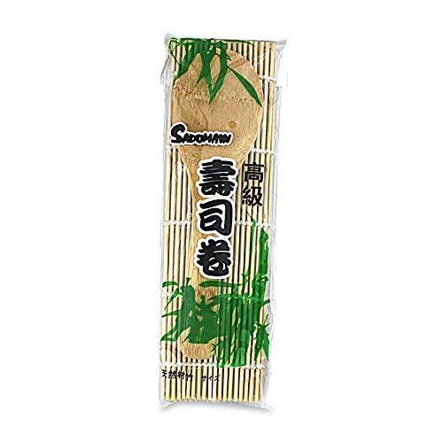 Heuschen Sushi Alfombrilla + Cuchara de Madera–Set Sushi con Cuchara/bambú Esterilla 24cm x 21cm