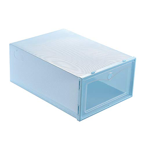 Hoqiang 6 Pack Drawer Shoes Box for Home Family, Stackable Plastic Strong Box Shoes with Clear Lids DIY Assemble for Drawers Shoes Organizer Cabinet (Blue)
