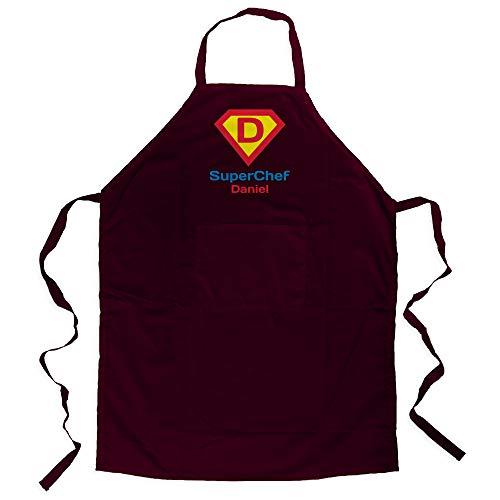 LolaPix Delantal Personalizado Hombre con Nombre. Regalos Personalizados para Hombre. Varios diseños. Delantal Master Super Chef Granate