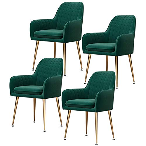 Set of 4 Velvet Dining Chair with Upholstered Soft Seat with Armrests & Backrest Leisure Chair Armchair for Kitchen Lounge Bedroom Living Room (Color : Green, Size : Golden Leg)