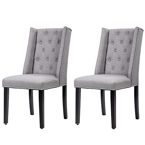 tufted dining chair set of 2s Dining Chairs Set of 2 Dining Room Chairs for Living Room Kitchen Chairs Parsons Chair Mid Century Modern Chair upholstered for Restaurant Home (Grey)