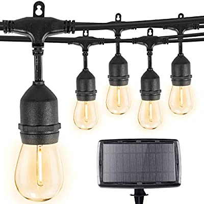 Minetom 34Ft Solar String Lights with 15 Shatterproof LED Bulbs, Solar & USB Charging with 4 Lighting Modes, Heavy Duty Weatherproof Strand for Outdoor & Indoor, Black Cord, 2700K