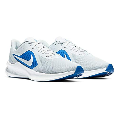 Nike Downshifter 10, Running Shoe Mens, Pure Platinum/White-Hyper Royal, 46 EU