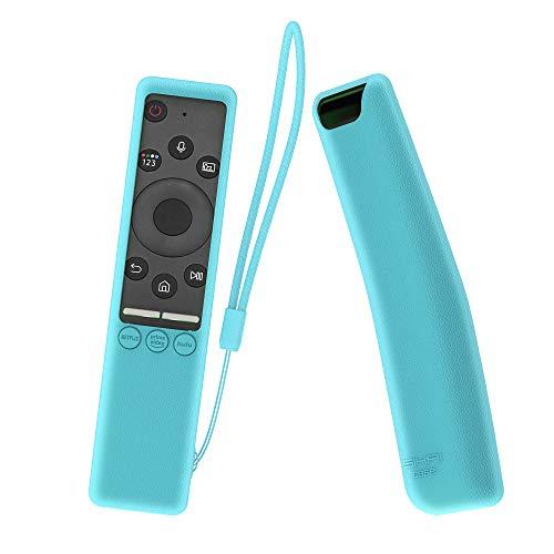 MOSHOU Ajustado Adapta Mando Funda de Silicona Compatible con Samsung UHD 4K Smart TV Bluetooth Remote Control RMCSPR1BP1 / BN59-01312A Anti-caída Carcasa a Prueba de Golpes Cubierta (Luminoso Azul)
