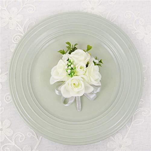 Bruidsmeisje pols corsage meisje armband kunstzijde roos bloem bruidegom corsages knoopsgat mannen bruiloft corsages, corsage-1