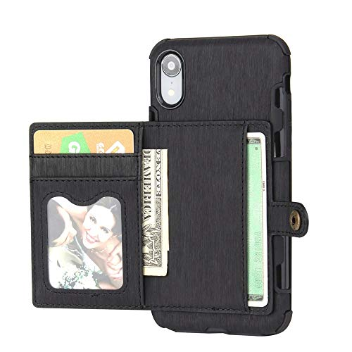 ErYao for iPhone Xs MAS 6.5 Inch Wallet Case with Card Holder, PU Leather Phone Case Anti Scratch All Around Protection Shatterproof Phone Case for iPhone Xs MAS 6.5 Inch (Black)