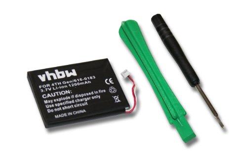 vhbw Li-Ion Akku 1200mAh (3.7V) für Video, MP3 Player Apple IPod 4, 4th Generation, Photo, U2 20GB Color Display MA127 wie 616-0183.