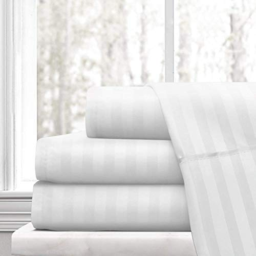 Bed 4 PCs Sheet Set -100% Egyptian Cotton - 400 Thread Count - 22 inch Deep Pocket of Fitted Sheet (Queen, White Stripe)