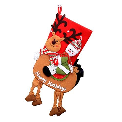 DUO ER Medias de la Navidad Santa Que Monta Elk Impreso Colgando Calcetines árbol de Navidad Bolsa de Regalo for los nuevos Fiesta de Navidad Año (Color : Red)