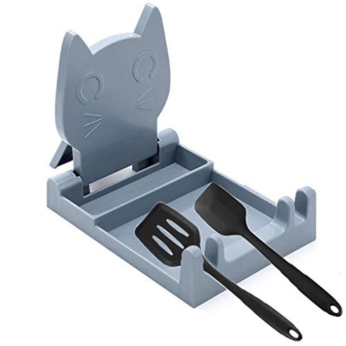 FengJ Kitchen Utensil Rest,Cute Cat Spatula Rack,spoon rest,kitchen accessories spoon holder,cover Lid Holder for Stove,Upgrade Foldable Design,Gray
