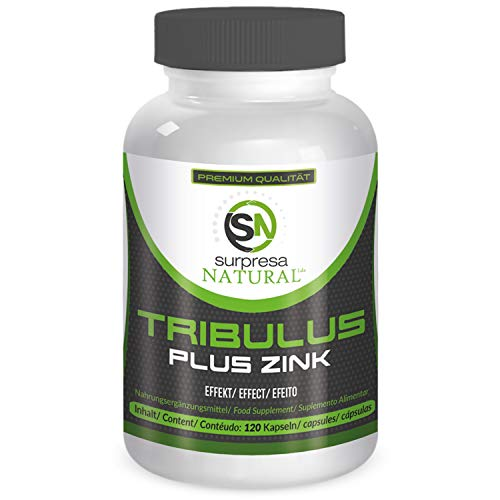 Surpresa Natural® - Tribulus Plus Zink - 120 hochdosierte Kapseln | 100{d88884877b789bb2826fdfbe2c3fc46b4ca840ff64e7af00442e4a05defc2fa2} gesunder & natürlicher Muskelaufbau | Tribulus Terrestris Extrakt | Nahrungsergänzung für Libido & Muskulatur